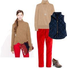 tan sweater + red pants + navy vest