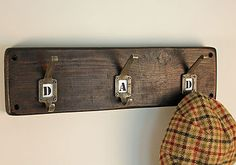 Reclaimed Wood Hook Board by MöA Design, the perfect gift for Explore more unique gifts in our curated marketplace. Rustic Letters, Wooden Letters, Stencil Font, Times New Roman, Lounge Furniture, Coat Hooks, Lettering, Hallways, Gifts