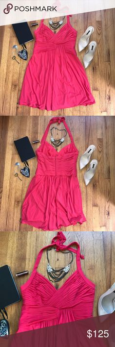 """{{BCBG} 'MaxAzria'} Bright Pink Dress [L] -Length: 36"""" (top of halter knot)28"""" (pit to hem) -Waist: 18.5"""" (across) -Bust: 16.5"""" (pit to pit) -RN: 80734. CA: 31458. -Shell: 68% Acetate 23% Nylon 8% Spandex. Lining: 84% Polyester 16% Spandex. -Dry Clean Only -This dress is so cute that I bought it in two different colors! One in black and one in this BEAUITFUL bright pink. -Worn Twice! Missing interior hanger straps (they get in the way 😊)!! No bra needed! -VERY flattering and the structured…"""