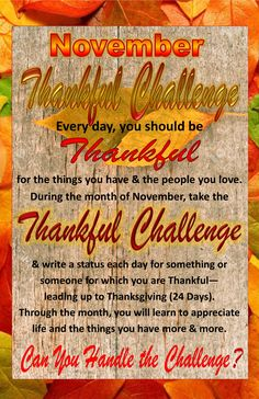 Join our Thankful Challenge during November