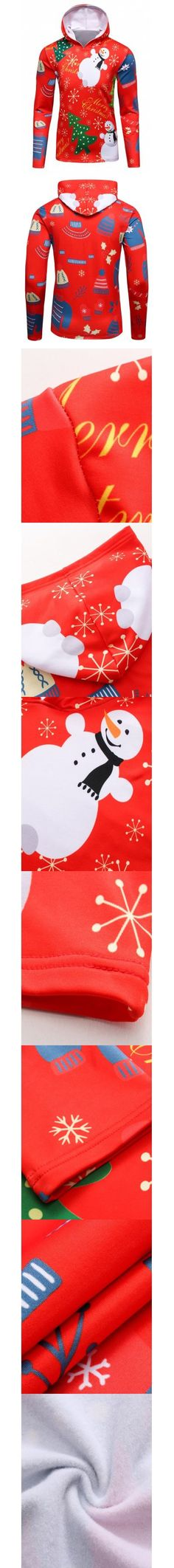 Red 3D Christmas Tree and Snowman Print Flocking Hoodie XL-$9.76