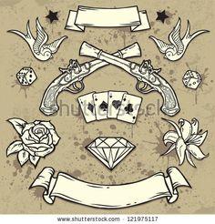 Set of Old School Tattoo Elements by Igorij, via Shutterstock