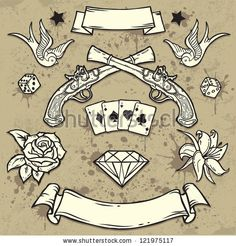 Old School Tattoo Elements 2 http://vectors123.com/vector/shutterstock-vector-eps-121975117