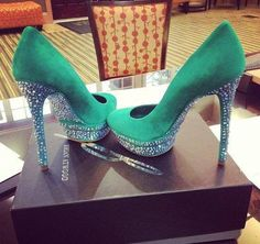 Aquarmarine with crystal bottoms! Love it to add a splash of color and glitz to any outfit.
