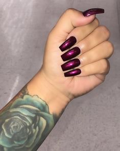 """""""Dark Rose""""🥀🥀🥀💅🏼💅🏼🥀🥀🥀 thanks love my nails fire 🔥🔥🔥🔥🔥🔥🔥 Maroon Nails, Dark Nails, Dark Color Nails, Dark Purple Nails, Plum Nails, Colorful Nail Designs, Gel Nail Designs, Fancy Nails, Trendy Nails"""