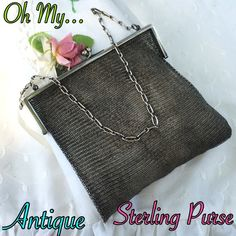 """HPStunning Antique Sterling Silver Purse WOW! This is a stunning Antique Sterling Silver Small Purse. Weighs over 90 grams! Marked STERLING W/ butterfly hallmark stamp. Measures 7"""" strap drop, 5"""" long, 5"""" wide at top, & 7.5"""" wide when layer out at the bottom. On the front of the purse is beautiful scroll detail. The purse is in great antique condition w/ 1 small nick as in the last set of pics. I show the nick & then show that you can't see it when holding it. A MUST HAVE BEAUTY!  Please…"""