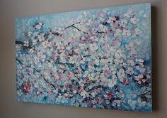 flor de cerezo pintura de flores pintura acrílica por artbyoak1