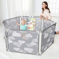 Skip Hop Baby Playpen: Expandable or Wall Mounted Play Yard with Clip-On Play Surface >>> (paid link) Want to know more, click on the image. Baby Laden, Baby Play Yard, Baby Gate Play Area, Baby Jogger, Play Spaces, Playpen, Bird Toys, Panel Doors, Trendy Baby