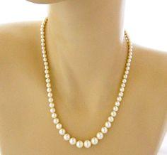 Vintage Graduated Faux Pearl Rope Choker Necklace Retro Costume Jewelry 18u201d & Vintage Geometric Coro Faux Pearl Choker Necklace Retro Signed ...