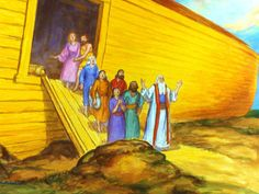 FreeBibleimages :: Noah is instructed by God to build an ark to escape the great flood. Free Bible Images, Noah Flood, Genesis 6, Building, Illustration, Painting, Craft Ideas, Teaching, Bible