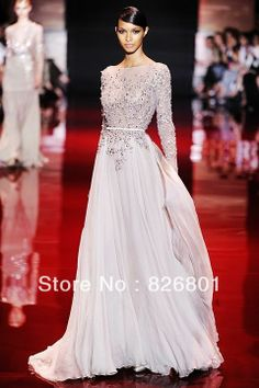 Free Shipping New Arrival Hot Sale  Elie Saab Lace Appliqued Beaded Long Sleeves Prom Dresses 2013 Long Evening Gowns $146.00