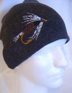 883de19e1230e Martinez Black Fishing Fly Lure Beanie Skullcap Hat Fly Fishing Hats