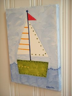 You don't need to be an artist to paint this adorable sail boat for your little one's room.  #cutenurseryart #diynursery #sailboatart