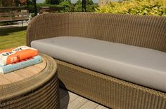 Tubby Garden SOfa with Grey Tailored Seat Pad Contemporary Garden Furniture, Contemporary Sofa, Outdoor Sofa, Outdoor Furniture, Outdoor Decor, Garden Sofa, Seat Pads, Ottoman, Armchair