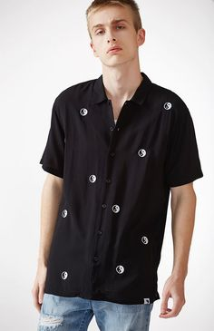 Tossed Yin-Yang Short Sleeve Button Up Camp Shirt
