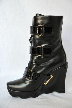 LOUIS VUITTON Womens Black Leather *RUNWAY RARE* High Wedge Mid-Calf Boot