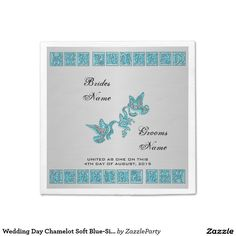 Wedding Day Chamelot Soft Blue-Silv-Paper -Paper Party Napkins #zazzle #napkins #weddingday #doves  http://www.zazzle.com/zazzleparty?rf=238170457442240176