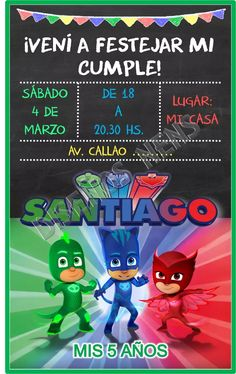 pj masks invitación digital imprimible héroes pijamas logo