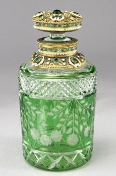 Bohemian Green Cut Glass Perfume Bottle With Gilt Filigree Stopper. Very beautiful, and I have a sneaking suspicion that it would make the perfume smell better too. Antique Perfume Bottles, Vintage Perfume Bottles, Bottles And Jars, Glass Bottles, Mason Jars, Cut Glass, Glass Art, Clear Glass, Etched Glass