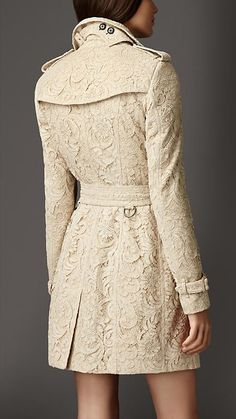 Mid-Length Cotton Lace Trench Coat | Burberry
