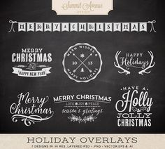Digital Typography Holiday Overlays - BONUS chalkboard patterns!