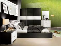 bedroom cheerful black and white bedroom interior design with elegant furniture and favourite wallpaper in green captivating bedroom color palette design ideas 800x598 | Simple & Modern Bed Design for Your Bedroom