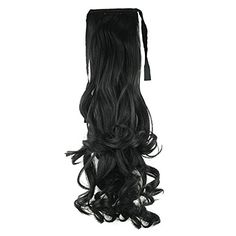 SODIAL(R)Synthetic False Hair Ponytails Pad pony Tail Curly Piece Long Wavy Clip In Wrap Around Ponytail Fake Hair Extensions Hairpiece Black -- This is an Amazon Affiliate link. Learn more by visiting the image link.