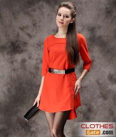 spring new lady skirt dress Slim round neck dress  http://www.clothesgate.com/spring-lady-skirt-dress-slim-round-neck-dress