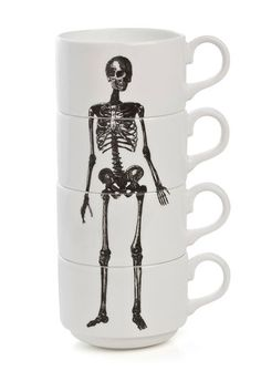 Skeleton stack espresso cups by Phoebe Richardson. Buy at Wolf & Badger.