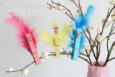 ptaszki z drewnianych klamerek - praca techniczna dla dzieci