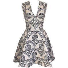Joana Almagro Murano Full Necklined White and Blue With Ethnic Prints... (€685) ❤ liked on Polyvore featuring dresses, vestidos, navy blue, summer print dresses, triangle dress, print dress, navy print dress and blue and white pattern dress