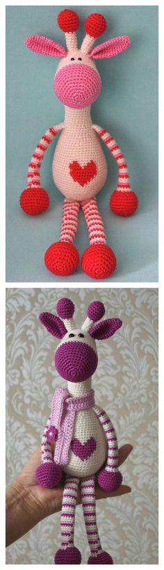 Crochet Adorable Hearty Giraffe Amigurumi Free Pattern - I would embroider eyes.
