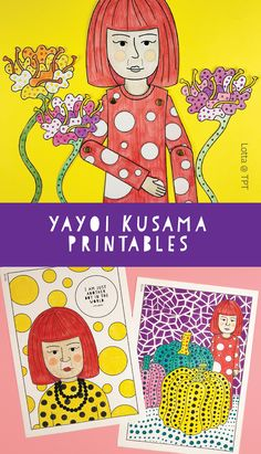 Yayoi Kusama for kids. Yayoi Kusama coloring pages. Art history for kids. Art Lessons For Kids, Artists For Kids, Art Lessons Elementary, Art For Kids, Yayoi Kusama, History For Kids, Art History, Art Sub Plans, Math Art