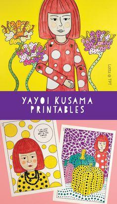 Yayoi Kusama for kids. Yayoi Kusama coloring pages. Art history for kids. Art History Lessons, Art Lessons For Kids, Art Lessons Elementary, Art For Kids, Yayoi Kusama, Famous Artists For Kids, Math Art, Autumn Art, Art Classroom