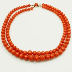 Victorian Double Strand Natural Red Coral Beads | Gilt Jewelry