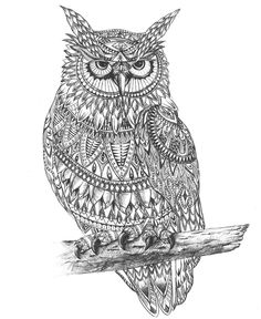 Beautiful-hand drawing-OWL-Aztec pattern #graphic #art #hand drawing
