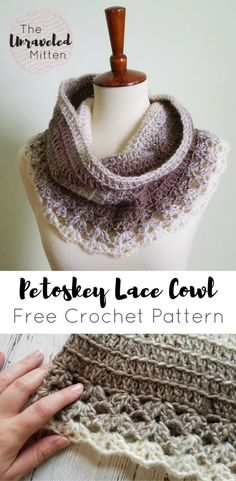 Petoskey Lace Cowl Free Crochet Pattern The Unraveled Mitten Scarf Scarfie The lace trim on this cowl make it look so feminine and pretty Perfect for date night crochet crochetcowl freecrochetpattern lionbrandyarn Crochet Scarves, Crochet Shawl, Crochet Clothes, Crochet Stitches, Crochet Hooks, Knit Crochet, Crochet Granny, Crochet Patterns For Scarves, Crochet Cowl Free Pattern