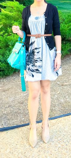 woman wearing gray dress, black cardigan with brown belt cinched on her waist, nude sam edelman heels, and teal ferragamo Sofia purse - outfit ideas, style fashion, and style inspiration for spring fashion, spring outfits, summer outfits, and summer fashion