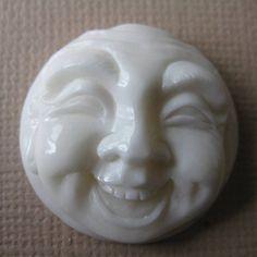 MS Happy Buddha Face Carved Bone 1 inch Cabochon Fair Trade Bali