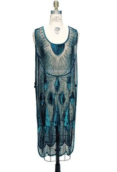 Beaded 1920s Tabard Gatsby Gown - The Bijou - Tourmaline Jet – The Deco Haus