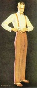 The suit pants always matched the suit jacket. They had two single pleats at the top and  a sharp crease down the front of the legs. Pockets were slit on the side and welt on the back with one button closure. The pants hung down to only mid ankle. This exposed the socks which were worn high up the leg calf and secured with sock garters. Socks were usually plain, stripped or argyle pattern. Unlike previous decades, men's pants started had fold up cuffs at the bottoms.