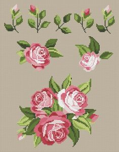 Rose Motif for Napkins Cross Stitch Pattern - absurt Cross Stitching, Cross Stitch Embroidery, Cross Stitch Patterns, Hand Embroidery Projects, Hand Embroidery Patterns, Cross Stitch Rose, Cross Stitch Flowers, Serviettes Roses, Rose Mehndi Designs