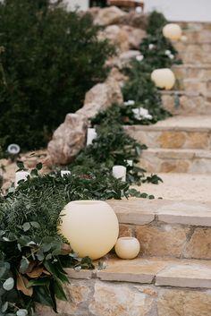 Greenery Garland & Vases Wedding Decor | Stylish Outdoor Wedding at Masia Casa del Mar in Barcelona, Spain | Sara Lobla Photography | Made in Video Film