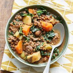 Hearty lentil one pot Bbc Good Food Recipes, Healthy Recipes, Free Recipes, Dinner Recipes, Lemon Spaghetti, Vegan Stew, Vegan Soups, One Pot Pasta, Roasted Carrots