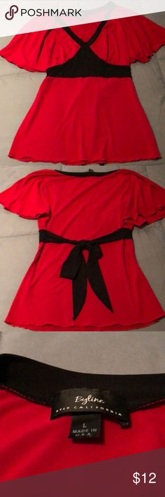Red and black flutter sleeve top. Red and black flutter sleeve top. Size Large. Gently worn 😊 Byline Tops Blouses