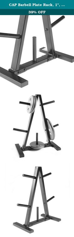 "CAP Barbell Plate Rack, 1"", Black. Keep your weight plates in order and off the floor with the CAP Barbell 1-inch plate rack. This rack features a durable steel construction and accommodates 1-inch plates. It also features a black powder-coat finish and triangular design. Ideal for home use to keep your workout space organized and your plates readily available. Steel construction offers outstanding durability. Keep floor protected and organize weights. Accommodates 1-inch plates."