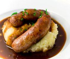 Traditional British dish of Bangers and Mash