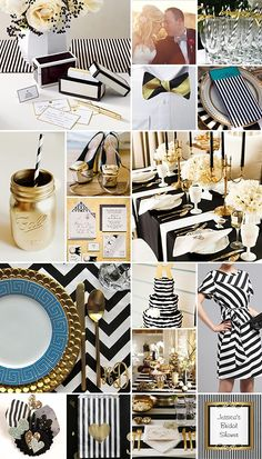 Black, White and Gold Stripes