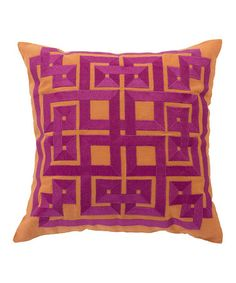 Do, prob ribbon & plain pillow ---  Love this Orange Jaffa Throw Pillow by Surya on #zulily! #zulilyfinds