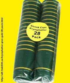 Krymphättor Grön/guld 28-PACK - Krymphättorna i rött/guld hjälper dig att skilja olika typer/årgångar åt och hindrar också korken att torka ut. Att dina vinflaskor sedan blir helproffsiga är en extra fördel.   Krympkapsyler - krymphättor - i plast, som man enkelt värmer på flaskan, skyddar korken mot uttorkning och ger ett professionellt utseende.   Krympkapsylerna drar ihop sig vid 90°C, t.ex. när man doppar dem i kokande vatten eller värmer med en varmluftspistol.
